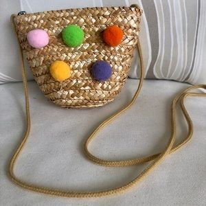 Toddler Pom Pom Straw Zip Crossbody Bag